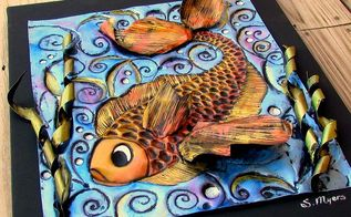 enchanted fish 3d embossed wall art, home decor, Embossed 3D fish wall art