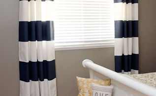 how to add drama to your boring windows, diy, home decor, how to, reupholster, window treatments, Painted white curtains with navy flat latex paint