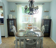 dining table and chairs found curb side, painted furniture, Dining Table and Chairs after complete makeover