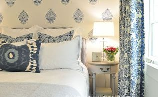 stenciled blue and white bedroom, bedroom ideas, home decor, painting