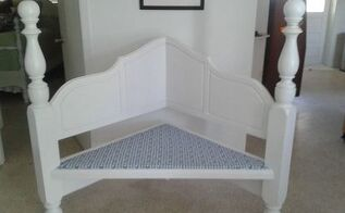 headboard upcycle, repurposing upcycling, Corner bench made from a head board