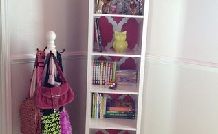 bookshelf finally in her big girl bedroom, bedroom ideas, painted furniture, shelving ideas, Had a picture on the wall but it did not go so well with the shelf Have to find something else
