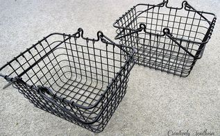 vintage wire baskets, crafts, Nice shiny black baskets from Homegoods 3
