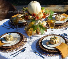 pumpkins at the table, gardening, home decor, seasonal holiday decor