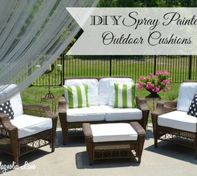 Painted Fabric Outdoor Cushions Using A Paint Sprayer, Outdoor Furniture,  Outdoor Living, Painted
