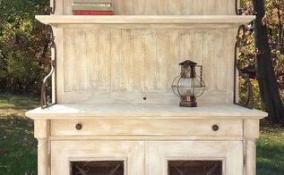 from shabby to chic rescued hutch, painted furniture