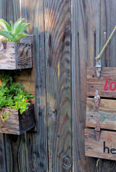 rustic wooden industrial tool boxes garden sign planters, flowers, gardening, pallet, repurposing upcycling, succulents
