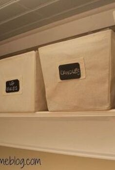 how to fake an expensive looking shelf for under 50, diy, how to, shelving ideas, storage ideas, woodworking projects, I found inexpensive linen baskets at Kmart and used chalkboard labels to mark the contents
