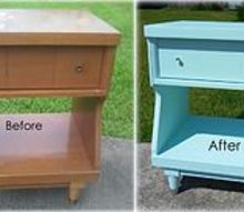 before and after a mid century modern night stand, painted furniture, Before and After Mid Century Modern Night Stand Makeover