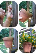 how to hang clay pots, gardening