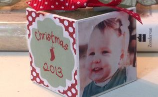 christmas ornament personalized photo block, christmas decorations, crafts, seasonal holiday decor