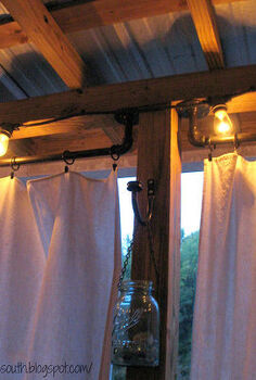 curtain rods made from galvanized plumbing parts a tutorial, repurposing upcycling, How to make curtain rods from galvanized plumbing parts Drop cloth curtains and string lights for the porch