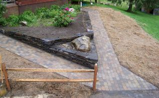 paver walkway stonework poolless bubbler rock, landscape, outdoor living, double entrance walkway