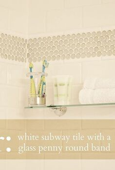 shower remodel, bathroom ideas, home improvement, Remodel using white subway tile white grout and glass penny rounds