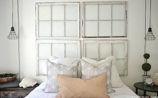 guest bedroom makeover, bedroom ideas, home decor, We made a headboard out of vintage windows