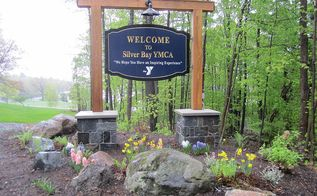 welcome signs, landscape, outdoor living, Welcome Sign sits on masonry pillars accented by native boulders and native plants