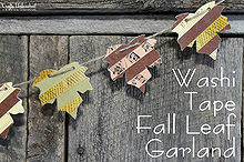 washi tape fall leaf garland, crafts, seasonal holiday decor