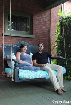 repurposed porch swing, outdoor furniture, outdoor living, painted furniture, repurposing upcycling, Here s a good example of the pillows and the trim together