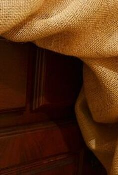 no sew burlap bathroom vanity skirt, bathroom ideas, crafts, reupholster
