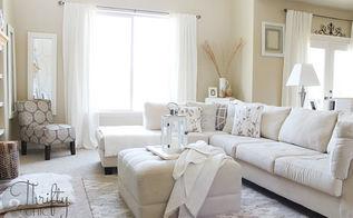 white living room, home decor, living room ideas, living room with soft ottoman