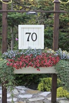 a diy house number sign including a flower box that i myself amp my husband came up, curb appeal, flowers, gardening, Our House Number Sign with flower box it adds great curb appeal