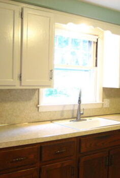 removing old laminate backsplash, kitchen backsplash, kitchen design, painting, shelving ideas, Before