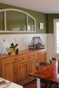 an old transom window repurposed for our kitchen, home decor, kitchen design, repurposing upcycling, Kitchen Eating Area with board and batten panelling reclaimed wood table and old transom window repurposed