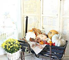 pumpkin filled goat cart and book page screen, repurposing upcycling, seasonal holiday decor