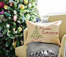 embroidered christmas pillow tutorial, christmas decorations, crafts, seasonal holiday decor