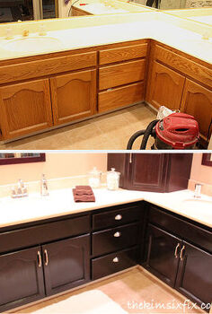 updating a brass and oak master bathroom with natural stone and neutral colors, bathroom ideas, doors, home decor, Stained cabinetry and marble countertops
