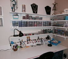 built a bead craft area, craft rooms, diy, how to, painted furniture, shelving ideas