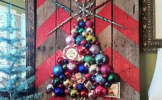 how to make a chevron pallet ornament christmas tree, crafts, pallet, seasonal holiday decor, Chevron Pallet Ornament Christmas Tree