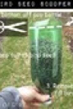 repurposed handy dandy bird seed scooper duper, gardening, repurposing upcycling, Cut the bottom off a pop soda bottle I used a serrated knife to start a hole and scissors to finish it off