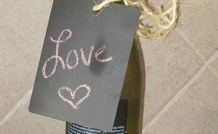 repurpose countertop samples into chalkboard tags, chalkboard paint, crafts, Then attach it with ribbon or like I did with twine around a wine bottle or like the picture above where I attached it to a pitcher of flowers The possibilities are endless