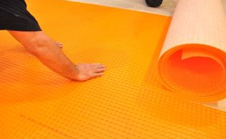 installing schluter ditra tile underlayment, flooring, tile flooring, tiling, DITRA is installed over a bed of mortar It s easy to cut with a utility knife and seams are butted against each other