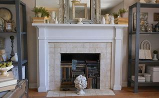 mixing modern and vintage styles on a late spring mantel, home decor