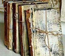 upcycled trashed books to look like antique treasures, home decor, painting, repurposing upcycling, I tied each book with a piece of kitchen twine and added a little more El Dorado Gold on the high points for some extra shimmer