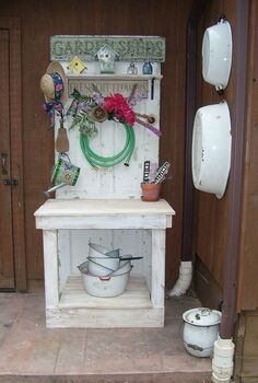 potting table, gardening, painted furniture, My lovely potting table my husband built All ideas came from Pinterest