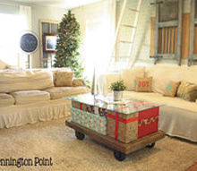 make a christmas coffee table, christmas decorations, living room ideas, painted furniture, seasonal holiday decor, My coffee table makes the whole room look festive and Christmasy