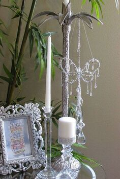 candle stick used to hang butterfly 3 of 5, crafts, home decor, repurposing upcycling, shabby chic, Wanted to try a Vintage Nostalgia vignette