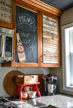 waking up sleepy kitchen cupboards with junk, crafts, home decor, kitchen design, repurposing upcycling, These junky cupboards couldn t have been easi
