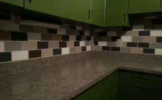 painted subway tile backsplash, kitchen backsplash, kitchen design, painting, tiling, Finished project