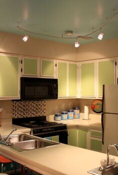 updated cabinets, doors, kitchen cabinets, painting, Painted Plywood panels applied