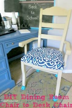 turn an ordinary dining chair into a desk chair with casters, painted furniture, Added freshly painted turquoise casters to this ordinary dining room chair Ready for Back to School