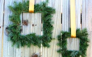 paint stick evergreen wreaths, crafts, seasonal holiday decor, The square wreaths were simple to make but still have an elegant look