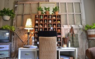 my home office gets functional and cozy using upcycled items, chalk paint, craft rooms, home decor, home office, painted furniture, repurposing upcycling, rustic furniture