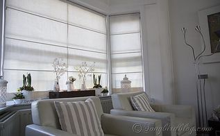 window treatment for bay windows double layered roman blinds, diy, how to, window treatments, windows