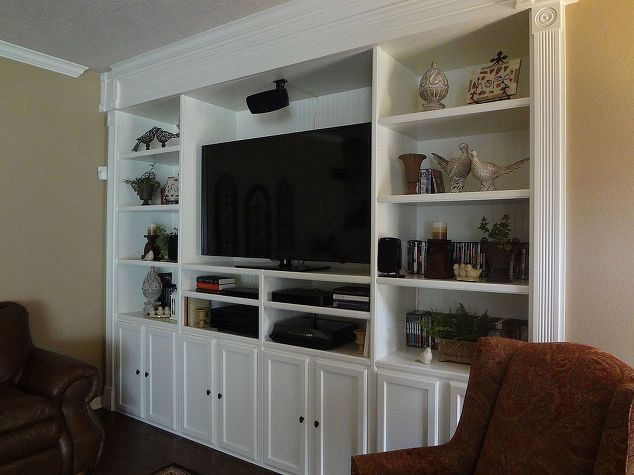 Custom built entertainment center hometalk for Custom built kitchen cabinets