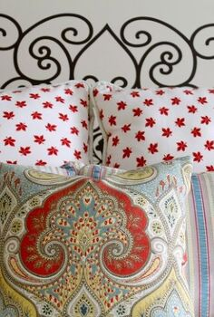 faux french head board from a decal, bedroom ideas, home decor, wall decor, I am thrilled that it looks just like the head board my French friend hand painted on her guest room wall