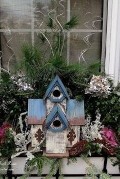 winter window box decorating, gardening, outdoor living, seasonal holiday decor, The other front window box with a birdhouse